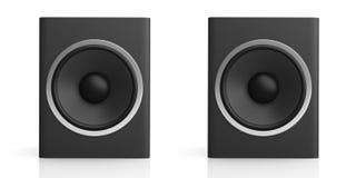 3d rendering audio speaker boxes on white background. 3d rendering black audio speaker boxes on white background Stock Photo