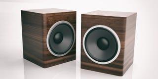 3d rendering audio speaker boxes on white background. 3d rendering wooden audio speaker boxes on white background Stock Image