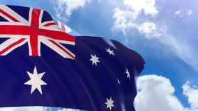 3D rendering of Australia flag waving on blue sky background with Alpha channel can change background later stock video