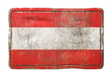 Old Austria flag. 3d rendering of an Austria flag over a rusty metallic plate. Isolated on white background Stock Images