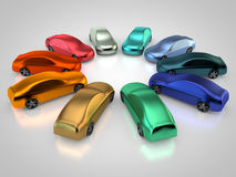3D rendering: auto painting. Cars in a circle with different auto paint on carbody Royalty Free Stock Photography
