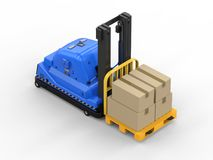 Automatic forklift with cardboard boxes. 3d rendering automatic forklift with cardboard boxes on white background vector illustration