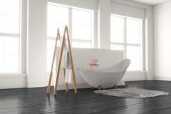 3D-rendering av ett badkar på ett trägolv framme av stora wi Royaltyfria Bilder