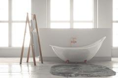 3D-rendering av ett badkar på ett trägolv framme av stora wi Arkivfoton