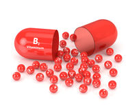 3d rendering of B2 vitamin pill Royalty Free Stock Photos