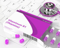 3d rendering of B1 vitamin pills with stethoscope Royalty Free Stock Images