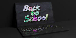 3d rendering back to scholl on a laptop. On black background Stock Images
