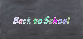 3d rendering Back to school on a black chalkboard Royalty Free Stock Photos