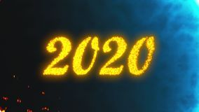 3D rendering backdrop with shiny 2020 number. Computer generated animation of happy new year 2020 concept royalty free illustration