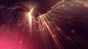 3d rendering background of glowing particles with depth of field, bokeh. Microworld or sci-fi theme. Particles form line. And 3d surface grid royalty free illustration