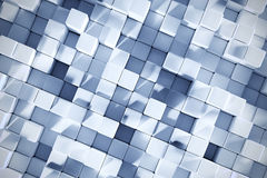 3D Rendering Background With Ice Blue Cubes. Abstract 3D Rendering Background With Ice Blue Colored Realistic Cubes And Shadows Top View Royalty Free Stock Image