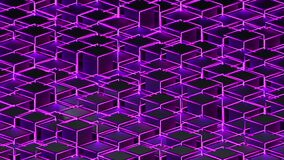 3d rendering background of isometric neon cubes located at different levels. Computer generated abstract design.