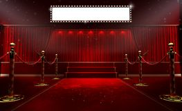 3d rendering of Background with a red curtain and a spotlight. Festival night show poster. Open red curtain. event premiere poster royalty free illustration