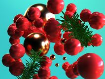 3d rendering background red sphere gold ball green leaf abstract christmas holiday new year concept stock illustration