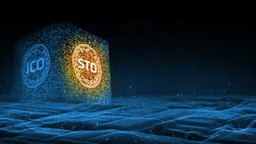 3D Rendering background. Security Token Offering STO is replacing Initial Coin Offering ICO as a new proposing technology. For crypto currency. Glowing led text vector illustration