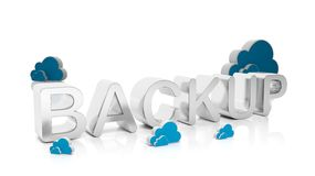 3D rendering of Backup text with Cloud symbols Stock Photography