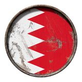 Old Bahrain flag. 3d rendering of a Bahrain flag over a rusty metallic plate. Isolated on white background Stock Images