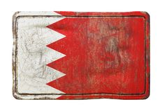 Old Bahrain flag. 3d rendering of a Bahrain flag over a rusty metallic plate. Isolated on white background Stock Photos