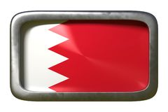 Bahrain flag sign. 3d rendering of a Bahrain flag on a rusty sign isolated on white background stock illustration