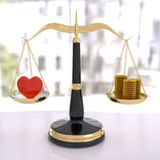 3D rendering of balance scale of love and money Royalty Free Stock Photo