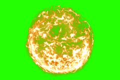 3D rendering, ball of flame fire in chroma key green screen background, dangerous flame. Concept Royalty Free Stock Photography