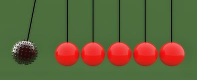 Ball and pendulum balls with spikes Royalty Free Stock Photo