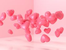 3d rendering balloon heart shape glossy pink levitation room love surprise valentine gift concept stock illustration