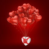 3D rendering balloons. 3D rendering a bunch of red balloons with a gift Royalty Free Stock Photos