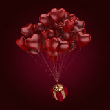 3D rendering balloons. 3D rendering a bunch of red balloons with a gift Stock Photos
