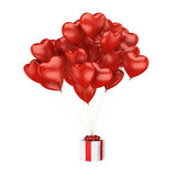 3D rendering balloons. 3D rendering a bunch of red balloons with a gift Stock Photo