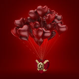 3D rendering balloons. 3D rendering a bunch of red balloons with a gift Royalty Free Stock Photo