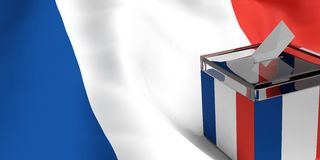 3d rendering ballot box. 3d rendering glass ballot box on France flag background Royalty Free Stock Photography