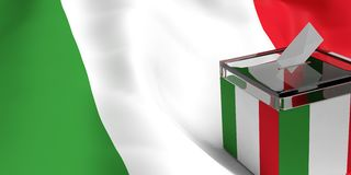 3d rendering ballot box. 3d rendering glass ballot box on Italy flag background Royalty Free Stock Photo