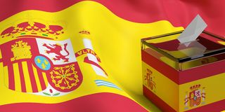 3d rendering ballot box. 3d rendering glass ballot box on Spain flag background Royalty Free Stock Photo