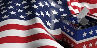 3d rendering ballot box. 3d rendering glass ballot box on USA flag background Royalty Free Stock Image