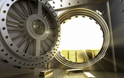 Bank Vault with gold bars inside. 3D rendering of a bank Vault with gold bars inside Stock Photos