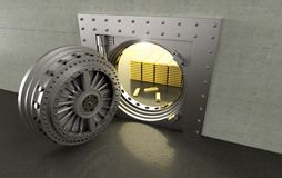 Bank Vault with gold bars inside. 3D rendering of a bank Vault with gold bars inside Royalty Free Stock Photo