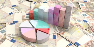 3d rendering bar and pie charts on 50 euros background Royalty Free Stock Images
