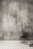 3D Rendering : Bare cement wall With modern chair. Stock Photos