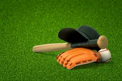 3d rendering of baseball bat, ball and gloves on green field background
