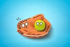 3d rendering of baseball glove and tennis ball with surprised cartoon faces on blue background