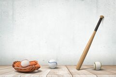3d rendering of baseballs and brown leather glove lying on wooden floor and baseball bat propped against grungy copy