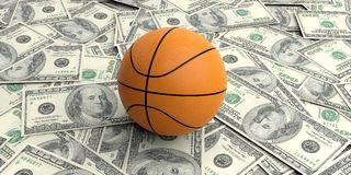 3d rendering basket ball on100 dollars banknotes. Background Royalty Free Stock Image