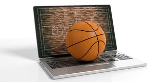 3d rendering basket ball on a laptop. On white background Royalty Free Stock Photo