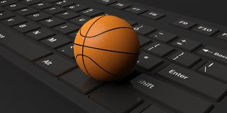 3d rendering basketball on a keyboard. 3d rendering basketball on a black keyboard Royalty Free Stock Images
