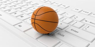 3d rendering basketball on a keyboard. 3d rendering basketball on a white keyboard Stock Image