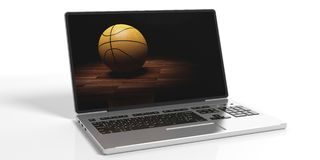 3d rendering basketball on a laptop screen. On white background Stock Photos
