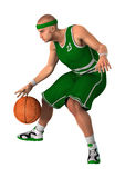 3D Rendering Basketball Player on White. 3D rendering of a basketball player isolated on white background Royalty Free Stock Image