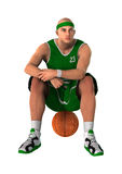 3D Rendering Basketball Player on White. 3D rendering of a basketball player isolated on white background Royalty Free Stock Photos