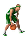 3D Rendering Basketball Player on White. 3D rendering of a basketball player isolated on white background Stock Photography